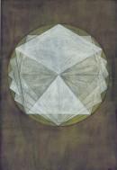LOB DES RAUMES II (für Platon), VI, 2017/2018, Pigmente, Eitempera, Au Aquarelle auf Pastellpapier, 48,6x33,6 cm