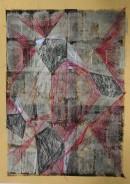 Silver Heart III, 11/2010, acrylic, ink, kuli, on goldpaper, 29,7 cm x 21 cm
