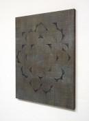 ´exibition view, HIMMELSRICHTUNGEN VII`, 2014 , pigments, acrylic, canvas, 68 x 57,5 cm