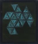 ´Vom Gefuehl der Welt ( triangles bleu)`, 2016, pigments, acrylic on linen, 40 x 35 cm