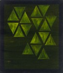 ´Vom Gefuehl der Welt (triangles jaune)`, 2016, pigments, acrylic on linen, 40 x 35 cm