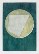 ´LOB DES RAUMES II (für Platon IV), 082017, pigments, eggtempera, watercolor, pencil on paper, 48,5 x 33,5 cm