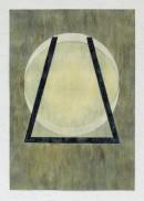 ´LOB DES RAUMES II (für Platon X), 2018, pigments, eggtempera, watercolor, pencil on paper, 48,5 x 33,5 cm