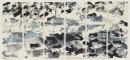 ´1000 Kraehen left`, 2016, encre du Chine, monotypie, paper, 2x 6, 29,5 x 10,5 cm, 126 cm