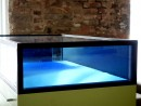 exhibition view (for Mantegna), antique glass in glass showcase, deep blue, green, light blue, stainless steel plate, 2019, 54,5 x 91,6 x 43,5 x 18 cm