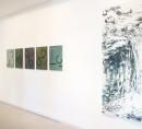 exhibition view ´von gebliebenen und heimkehrern` 5 paintings ´Bilder der fließenden Welt`, right Cornelia Freitag; Claudia Larissa Artz coyright
