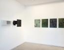 exhibition view ´von gebliebenen und heimkehrern`, 5 paintings ´Bilder der fließenden Welt`, left Ingrid Hornef; Claudia Larissa Artz coyright